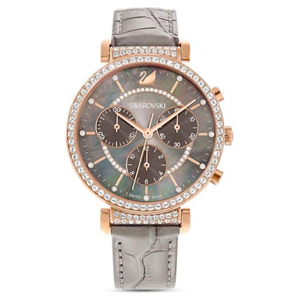Passage Chrono watch, Leather strap, Gray, Rose-gold tone PVD - Swarovski, 5580348