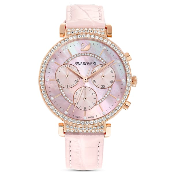 Montre Passage Chrono, bracelet en cuir, rose, PVD doré rose - Swarovski, 5580352