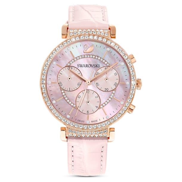 Passage Chrono Часы, Кожаный ремешок, Розовый, PVD-покрытие оттенка розового золота - Swarovski, 5580352