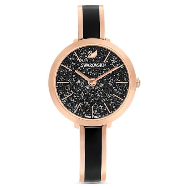 Crystalline Delight Watch, Metal Bracelet, Black, Rose-gold tone PVD - Swarovski, 5580530