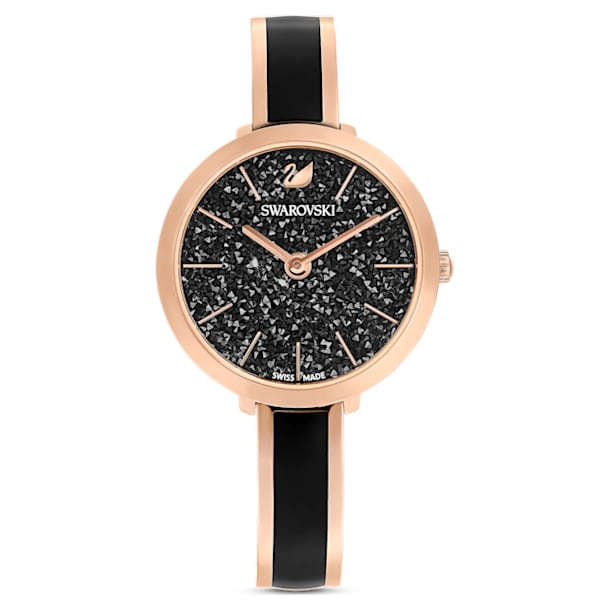 Crystalline Delight Watch , Metal bracelet, Black, Rose-gold tone PVD - Swarovski, 5580530