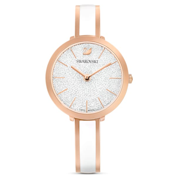 Crystalline Delight Watch, Metal Bracelet, White, Rose-gold tone PVD - Swarovski, 5580541