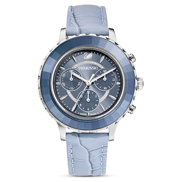Octea Lux Chrono watch, Leather strap, Blue, Stainless steel - Swarovski, 5580600