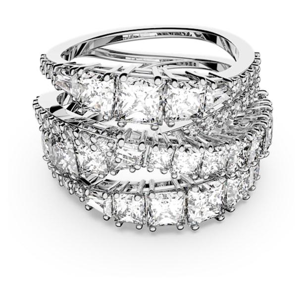 Spleciony pierścionek Twist, biały, powlekany rodem - Swarovski, 5580952