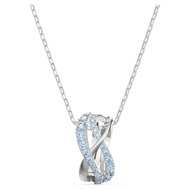 Twist Rows Pendant, Blue, Rhodium plated - Swarovski, 5582806