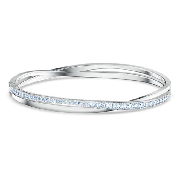 Twist Rows Bracelet, Blue, Rhodium plated - Swarovski, 5582810