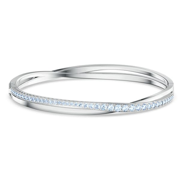 Twist Rows Bracelet, Blue, Rhodium plated - Swarovski, 5582810
