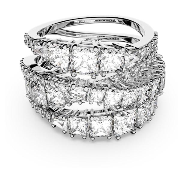 Twist Wrap ring, Wit, Rodium toplaag - Swarovski, 5584646