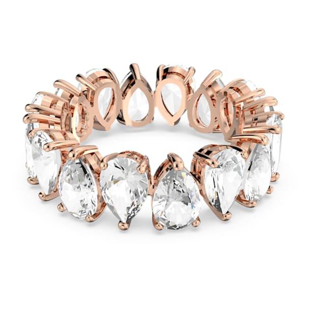 Vittore gyűrű, Körtemetszésű kristályok, Fehér, Rózsaarany-tónusú bevonattal - Swarovski, 5585425