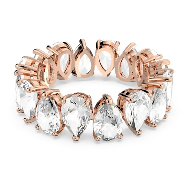 Vittore ring, Pear cut crystals, White, Rose gold-tone plated - Swarovski, 5585425