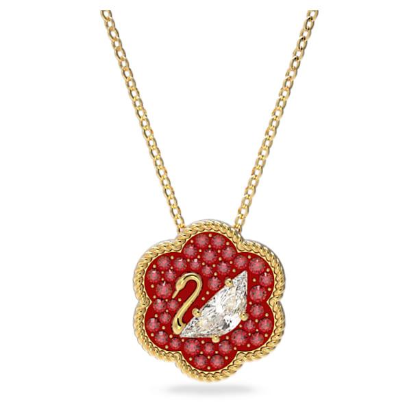Flower of Fortune 链坠, 天鹅, 红色, 镀金色调 - Swarovski, 5597666