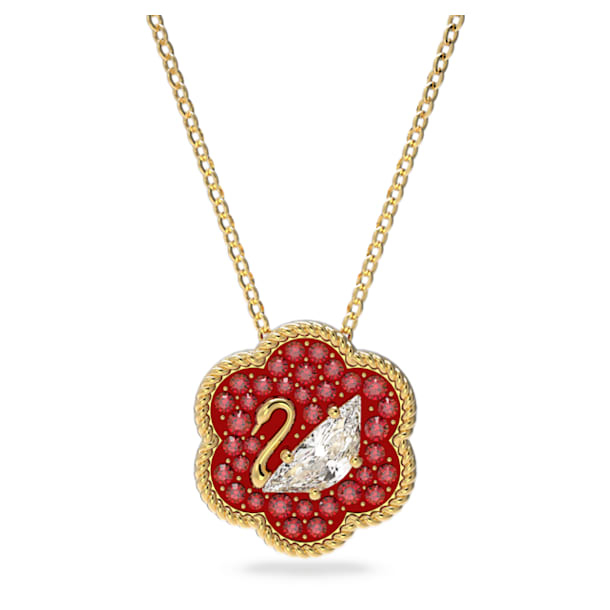 Flower of Fortune Pendant, Swan, Red, Gold-tone plated - Swarovski, 5597666