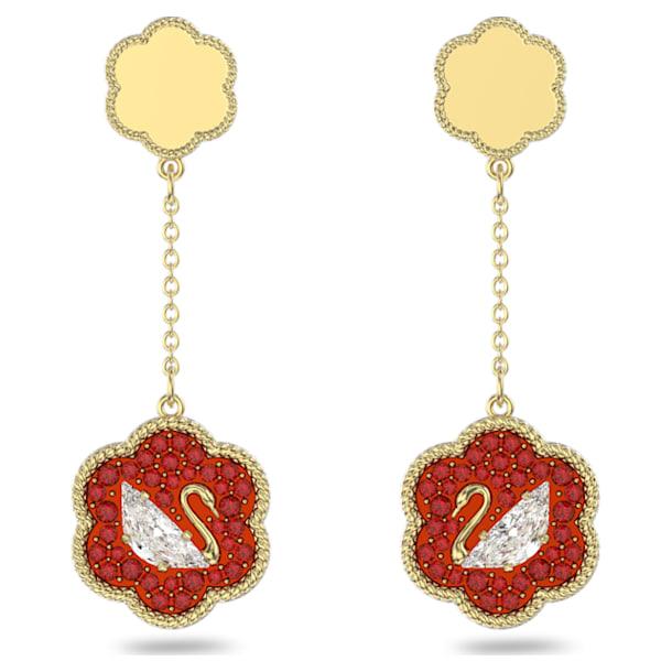 Flower of Fortune 穿孔耳环, 天鹅, 红色, 镀金色调 - Swarovski, 5597667