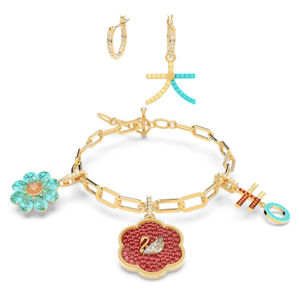 Flower of Fortune Set, Swan, Multicolor, Gold-tone plated - Swarovski, 5597669