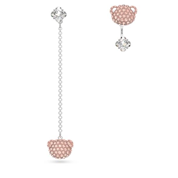 Teddy 穿孔耳環, 粉紅色, 鍍白金色 - Swarovski, 5597924