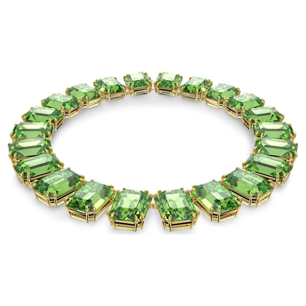 Millenia necklace, Octagon cut crystals, Green, Gold-tone plated - Swarovski, 5598261