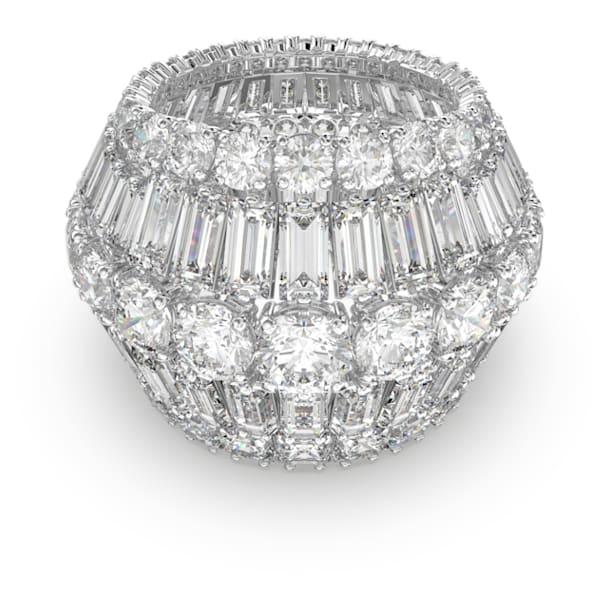 Hyperbola cocktail ring, Large, White, Rhodium plated - Swarovski, 5598341