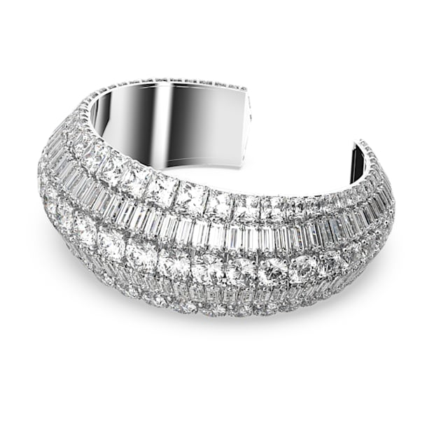 Hyperbola cuff, Large, White, Rhodium plated - Swarovski, 5598342