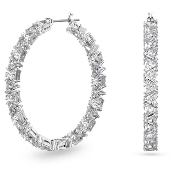 Kruhové náušnice Millenia, Trojúhelník Swarovski Zirconia, Bílá, Pokoveno rhodiem - Swarovski, 5598343