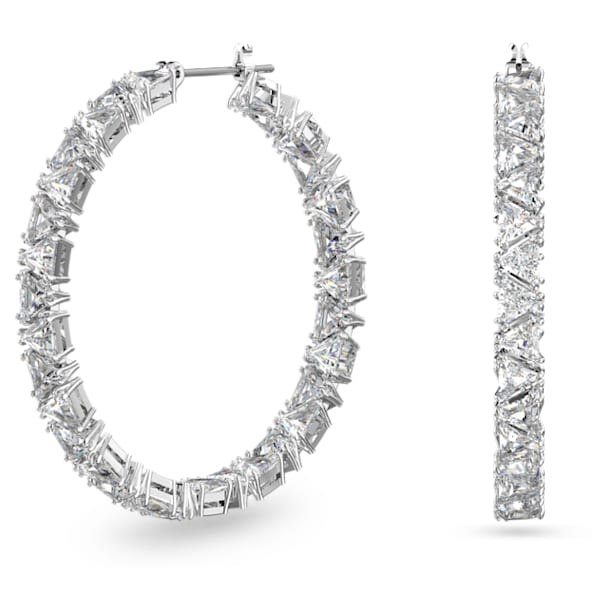 Millenia hoop earrings, Triangle Swarovski zirconia, White, Rhodium plated - Swarovski, 5598343