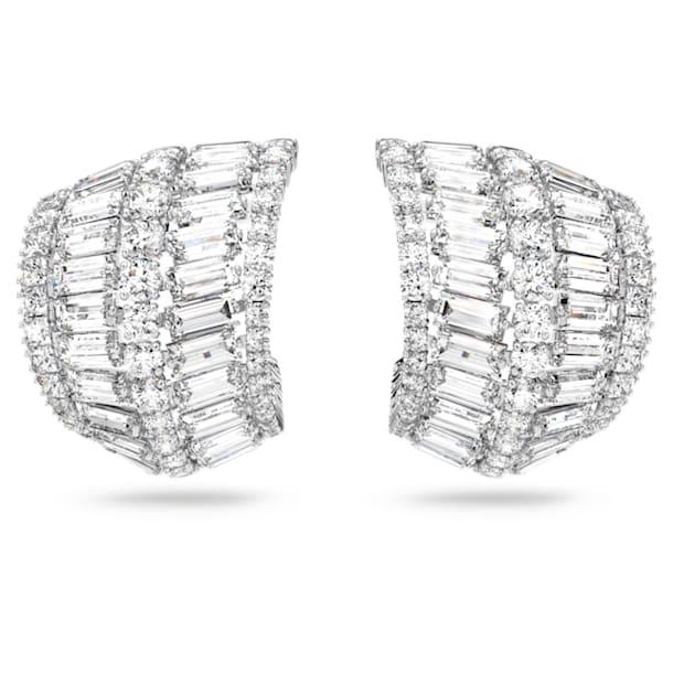 Hyperbola earrings, Large, White, Rhodium plated - Swarovski, 5598344