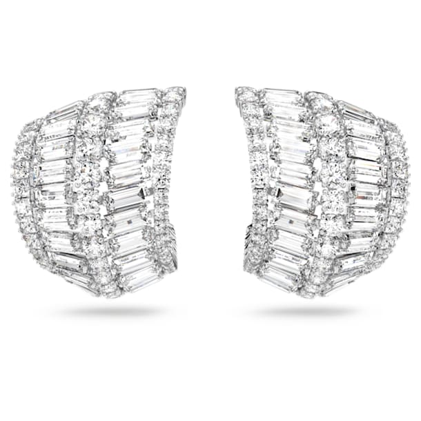 Hyperbola earrings, Large, White, Rhodium plated - Swarovski, 5598344