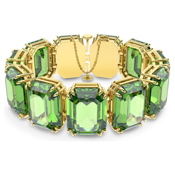 Millenia bracelet, Octagon cut crystals, Green, Gold-tone plated - Swarovski, 5598347