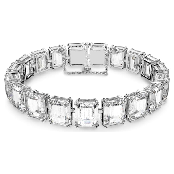 Millenia bracelet, Small octagon cut crystals, White, Rhodium plated - Swarovski, 5598349
