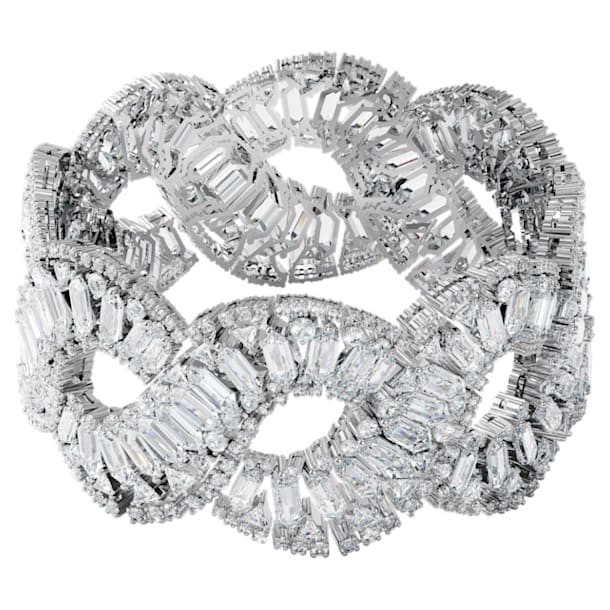 Hyperbola Браслет, Волна, Белый кристалл, Родиевое покрытие - Swarovski, 5598351