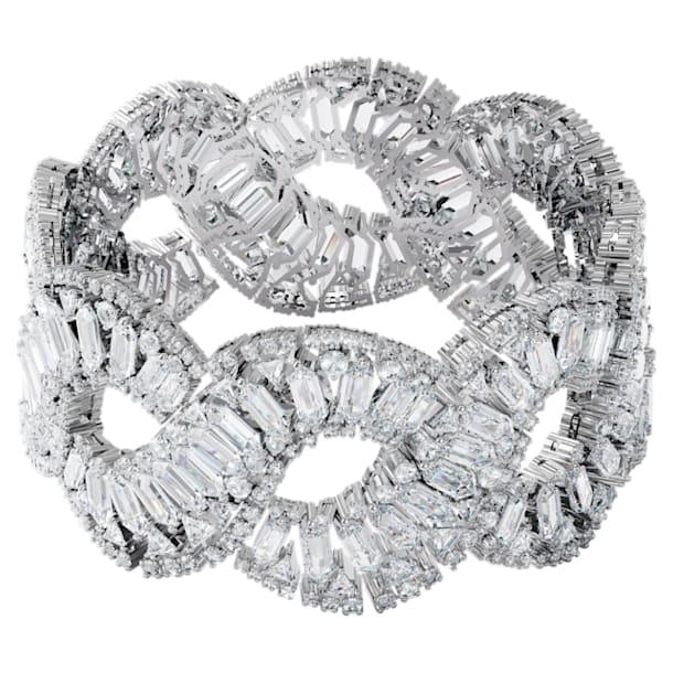 Hyperbola armband , Wave, Wit, Rodium toplaag - Swarovski, 5598351