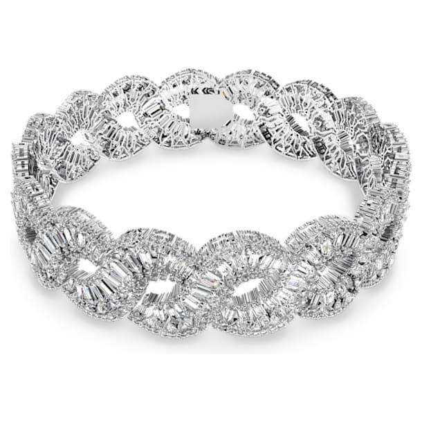Hyperbola Колье-чокер, Волна, Белый кристалл, Родиевое покрытие - Swarovski, 5598359