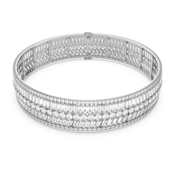 Hyperbola choker , Kristallen met verschillende slijpvormen, Wit, Rodium toplaag - Swarovski, 5598360