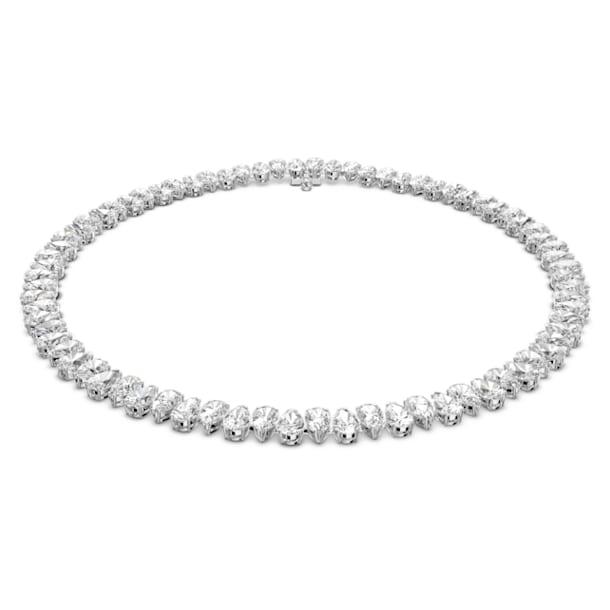 Collar Millenia, Zirconia Swarovski de talla pera, Blanco, Baño de rodio - Swarovski, 5598362