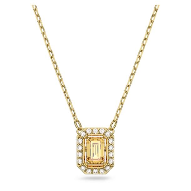 Millenia necklace, Square Swarovski Zirconia, Yellow, Gold-tone plated - Swarovski, 5598421