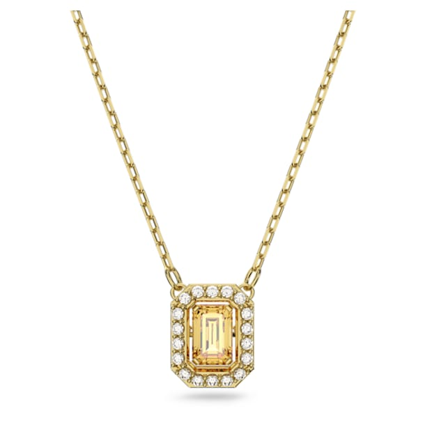 Millenia Necklace, Square Swarovski zirconia, Yellow, Gold-tone plated - Swarovski, 5598421