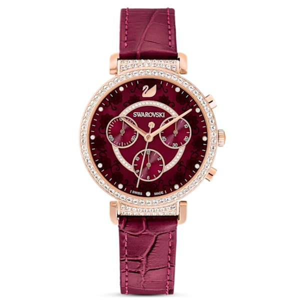 Passage Chrono Watch, Leather strap, Red, Rose-gold tone PVD - Swarovski, 5598689