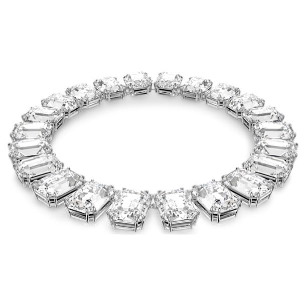 Millenia Necklace, Octagon cut crystal, White, Rhodium plated - Swarovski, 5599149