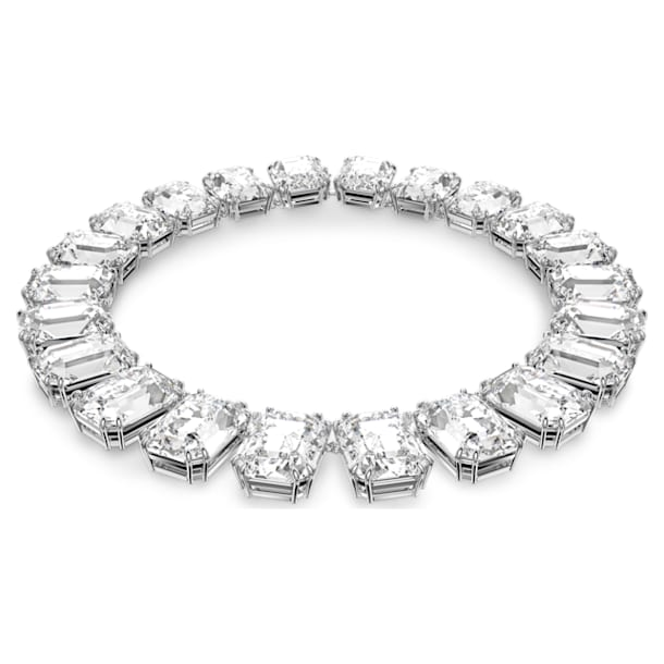 Millenia necklace, Octagon cut crystals, White, Rhodium plated - Swarovski, 5599149