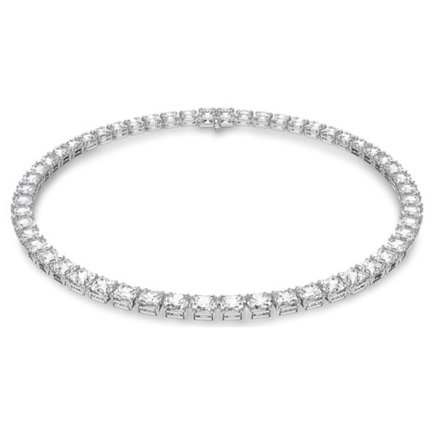 Millenia necklace, Square cut Swarovski Zirconia and crystal, White, Rhodium plated