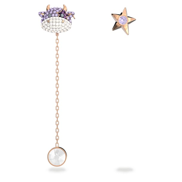Little 穿孔耳环, 不对称, 牛, 紫色, 镀玫瑰金色调 - Swarovski, 5599158