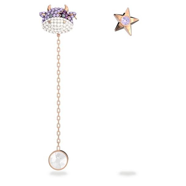 Little 穿孔耳環, 紫羅蘭, 鍍玫瑰金色調 - Swarovski, 5599158