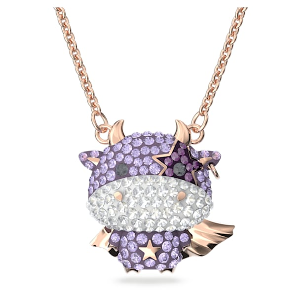 Little 链坠, Ox, 紫色, 镀玫瑰金色调 - Swarovski, 5599162