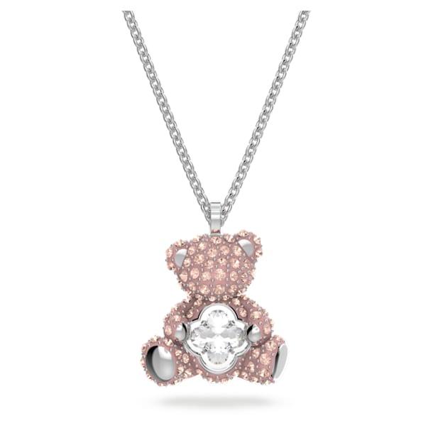 Teddy Pendant, Pink, Rhodium plated - Swarovski, 5599168
