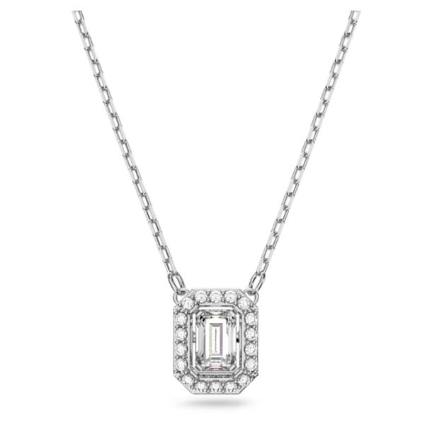Millenia necklace, Square cut Swarovski Zirconia, White, Rhodium plated - Swarovski, 5599177