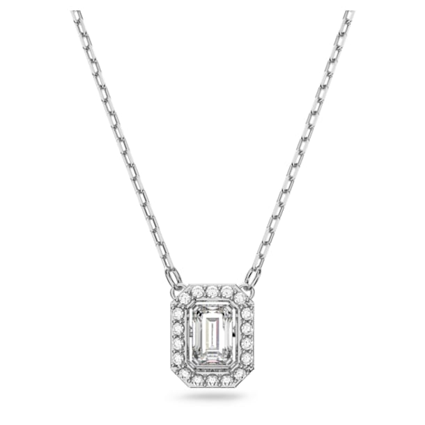 Millenia necklace, Square Swarovski Zirconia, White, Rhodium plated - Swarovski, 5599177