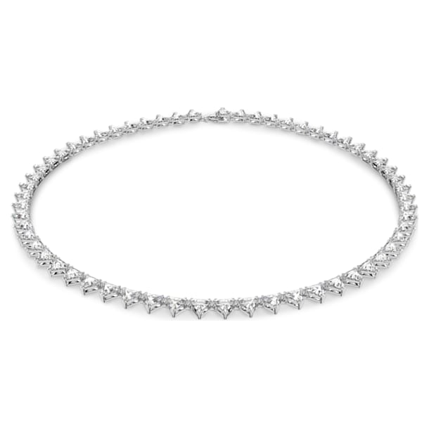Millenia necklace, Triangle, White, Rhodium plated - Swarovski, 5599191