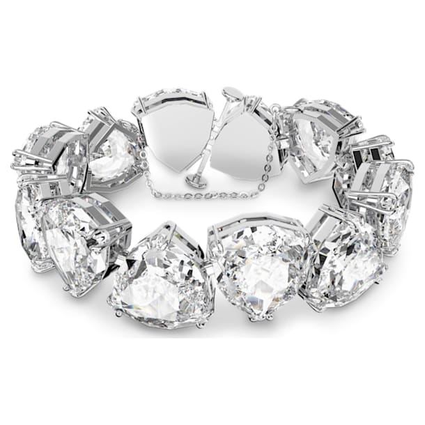Millenia 手鏈, 三角形切割Swarovski水晶, 白色, 鍍白金色 - Swarovski, 5599194