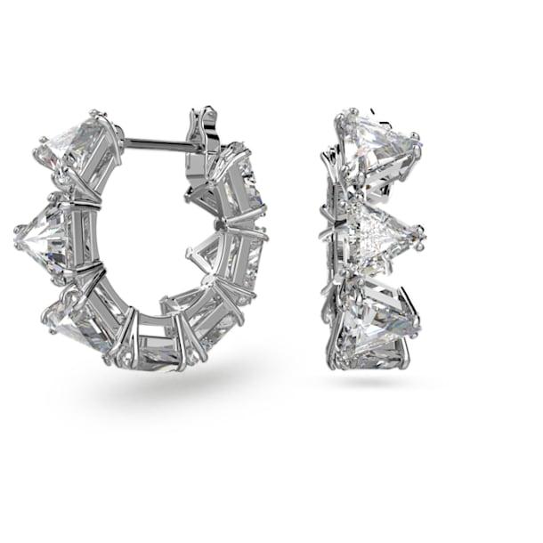Millenia hoop earrings, Triangle Swarovski Zirconia, Small, White, Rhodium plated - Swarovski, 5599199