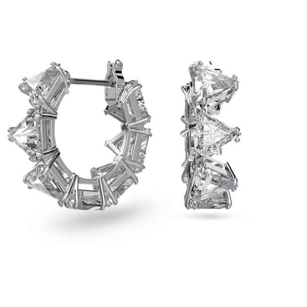 Millenia hoop earrings, Triangle Swarovski Zirconia, Multicoloured, Rhodium plated - Swarovski, 5599199