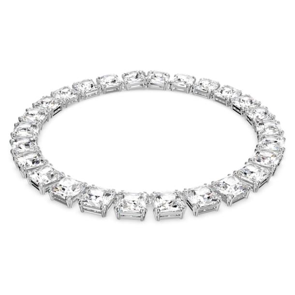 Millenia necklace, Square cut crystals, White, Rhodium plated - Swarovski, 5599206